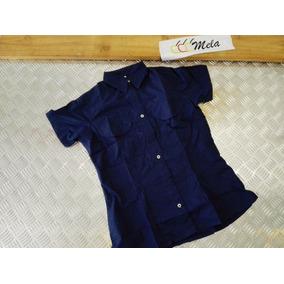 Camisa Tipo Columbia Para Uniforme De Dama Azul Marino T-l