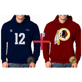 Kit 2 Blusas Moleton Patriots 12 + Washington Redskins Nfl bdb8b7ac32718