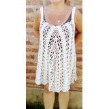 Vestido Playero Tejido Crochet Hilo De Algodon