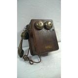 Telefone Antigo Kellogg Orig Manivela Madeira Cenografia