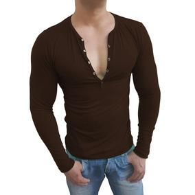 Camisa Masculina Henley Botão Manga Longa Blusa Clássica