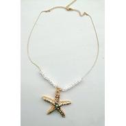 Collar Cadena Con Chaquira Y Estrella De Mar