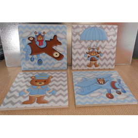 Cuadros Decorativos Para Bebe Osito Aviador 20x20 (4pz)