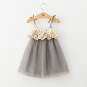 Vestido De Tul Con Encaje Para Niña