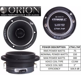 Tweeter Bala Orion Serie Cobalt Modelo Ctw1.7hp 300 Watts