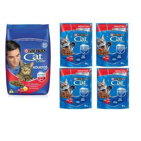 Ração Catchow Gatos Adultos Carne Purina 4 Saches Brinde.