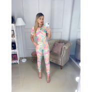 Conjunto Feminino Tie Dye Blusa T-shirt Princesa E Calça