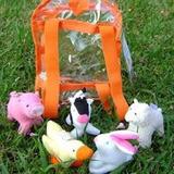 Mochila Pvc Con 5 Animales De La Granja. Didácticos De Tela