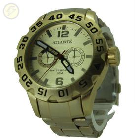 Relógio Original Social Masculino Dourado Ouro Quartz Açoino