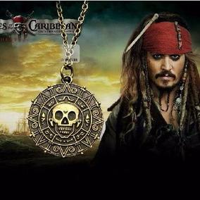Colar Piratas Do Caribe Caveira Jack Sparrow Medalhão Asteca