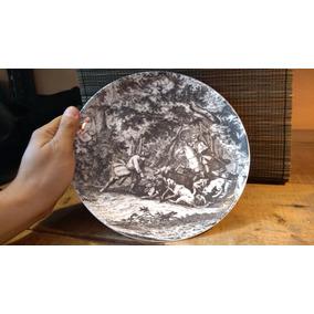 Precioso Plato De Porcelana Con Grabado Suizo De Colección