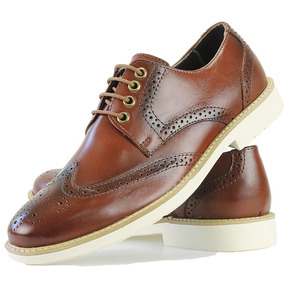 Sapato Casual Oxford Masculino Brogue Floral Couro Dhl Franc