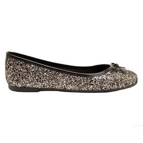 Chatita Mujer Cuero Ecológico Glitter Negro/plata Ms