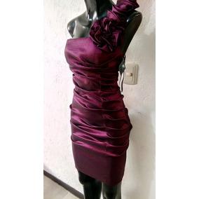 Vestido Purpura Talla 7 Liz Minelli Satinado Una Puesta