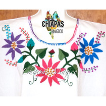 Hermosa Blusa De Chiapas Bordada A Mano / Talla 2xl / M037