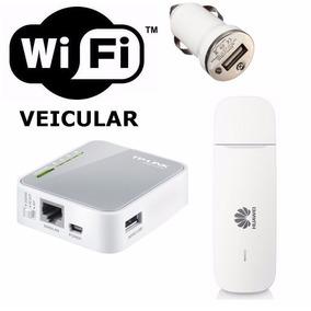 Kit Wi-fi Veicular   Mini Roteador + Modem 3g   10 Usuários