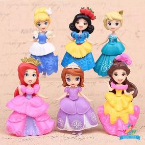 Disney Kit 6 Boneca Princesas Troca Roupa Sofia Elsa A029
