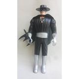 Boneco Zorro Plástico Soprado / Bolha / Rígido Antigo 19 Cm