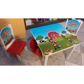 Mesa Y Sillitas Infantiles Con Percheritos Y Organizador