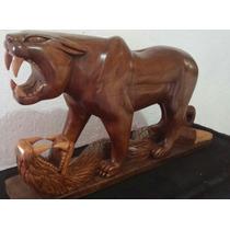 Jaguar Vs Serpiente Elaborado En Cedro Hecho A Mano Original