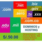 Hosting + Dominio + Correos Ilimitados
