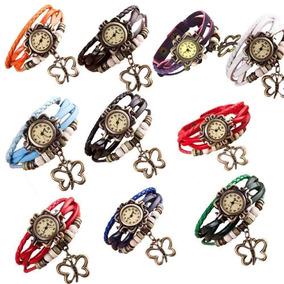 Reloj Mujer Cuero Pulsera Vintage Dije Varios Colores 6 U