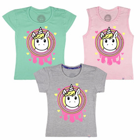 Kit 3 Blusas Camisetas Unicórnio Infantil Regata Juvenil
