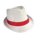 Chapeu Panama Malandro Carioca Branco Com Fita Vermelha