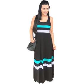 Vestido Longo Listras Regata Moda Blogueiras Listrado Barra