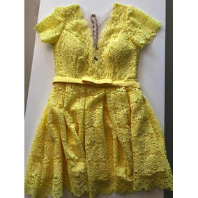 Vestido Curto Amarelo De Renda Guipure Festa 15 Anos Chá Bar