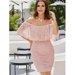 Vestido De Encaje Rosa Palo