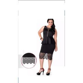 Falda Encaje O Blusa Peep Plum Negra Elegante Tallas Extras