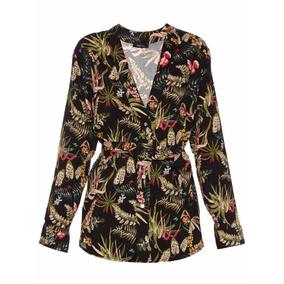 Camisa Mujer Primo Mihi Flores Negras Eva The Net Boutique