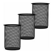 3 Pack Porta Lápices De Malla Negro