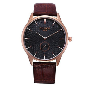 Brown Mens Dress Wrist Watches For Man Rose Golden Case Synt