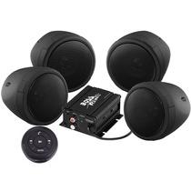 Kit 4 Bocinas Boss Para Moto Bluetooth Amplificador 1000w Ng