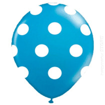 50 Unidades Balão Bexiga Decorada Nº10 Azul Bola Branca Poa
