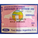 Entrada Afa 1a Division 1982 Independiente-boca