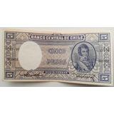 Billete Antiguo Chileno Cinco Pesos Medio Condor