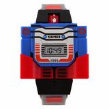 Reloj Digital Transformers Optimus Azul Rojo Niño Desarma