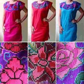 Lote 12 Vestidos Artesanales Manta Bordado En Punto De Cruz