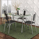 Mesa Vidro Com Quatro Cadeiras Cromadas