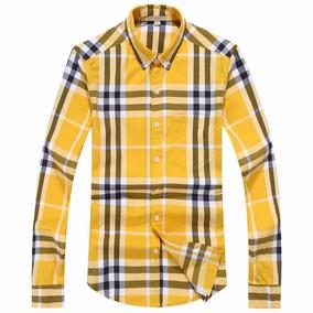 Camisa Caballero Burberry Long Shirt Cadros Y Rayas Amarillo