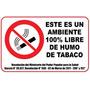 Aviso En Acrilico 80 X 50 Cm Con Texto 100% Libre De Humo