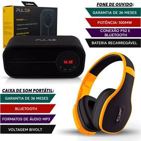 Caixa Som Portátil Bluetooth + Fone Ouvido Amarelo Pulse