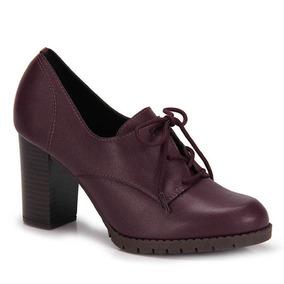 Sapato Oxford Conforto Beira Rio Tratorado - Vinho