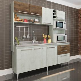 Cozinha Compacta Aéreo, Nicho Para Forno E Balcão De Pia Blu