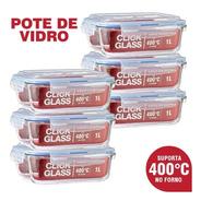 Kit Com 6 Potes De Vidro Herméticos Click Glass (6x1l)
