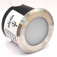 Balizador Coin Led Interlight 3971-s 0,3w 2700k Inox Bivolt
