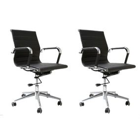 Kit Com 2 Cadeiras Gerente Roma Preta - Geropr-0625